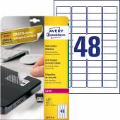 Etykiety zabezpieczające - plomby Avery Zweckform; A4, 20 ark./op., 45,7 x 21,2 mm, białe, poliestrowe