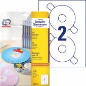 Etykiety na płyty CD Avery Zweckform; A4, 25 ark./op., ø117 mm, białe L6043-25