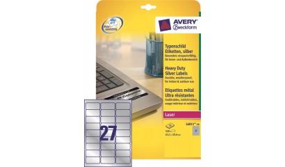 Etykiety samop. ZF Avery 63.5x29.6 (20ark.) znamionowe, srebrne L6011-20