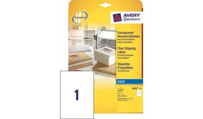 Etykiety przeźroczyste samop. ZF Avery 210x297 (25ark.) druk.atramentowa J8567-25
