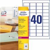 Etykiety adresowe przezroczyste Avery Zweckform; A4, 25 ark./op., 45,7 x 25,4 mm