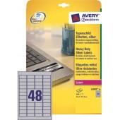 Etykiety samoprzylepne ZF Avery 45.7x21.2 (20ark.) znamionowe,srebrne L6009-20