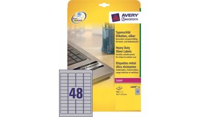 Etykiety samop. ZF Avery 45.7x21.2 (20ark.) znamionowe,srebrne L6009-20