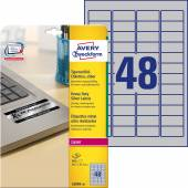 Etykiety znamionowe srebrne Avery Zweckform; A4, 20 ark./op., 45,7 x 21,2 mm, poliestrowe