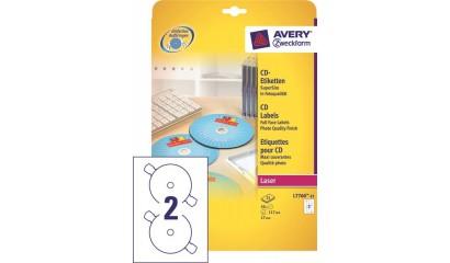 Etykiety samop. ZF Avery CD śr117 białe błyszczące (25ark.) L7760-25