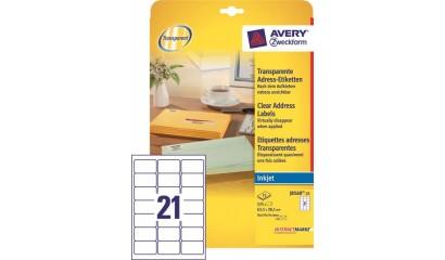 Etykiety przeźroczyste samop. ZF Avery 63.5x38.1 (25ark.) druk.atramentowy J8560-25