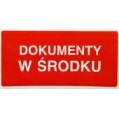 Etykieta ostrzegawcza DOKUMENTY W ŚRODKU 100x50mm (100szt)