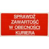 Etykieta ostrzegawcza SPRAWDŹ ZAWARTOŚĆ 100x50mm (100szt)