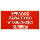 Etykieta ostrzegawcza SPRAWDŹ ZAWARTOŚĆ 100x50mm (500szt)