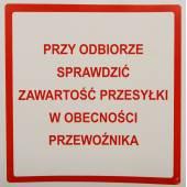 Etykieta ostrzegawcza SPRAWDŹ ZAWARTOŚĆ 100x100mm (100szt)