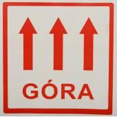 Etykieta ostrzegawcza GÓRA 100x100mm (100szt)