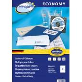 Etykiety uniwersalne Economy Europe100 by Avery Zweckform; A4, 100 ark./op., 105 x 74 mm, białe