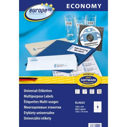 Etykiety uniwersalne Economy Europe100 by Avery Zweckform; A4, 100 ark./op., 105 x 74 mm, bia³e