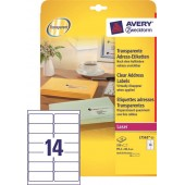 Etykiety przeźroczyste samop. ZF Avery 99.1x38.1 (25ark.) druk.laserowa L7563-25