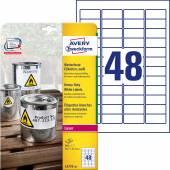 Etykiety Heavy Duty Avery Zweckform; A4, 20 ark./op., 45,7 x 21,2 mm, białe, poliestrowe