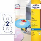 Etykiety na płyty CD Avery Zweckform; A4, 20 ark./op., ø117 mm, błyszczące C6074-20