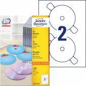Etykiety na płyty CD Avery Zweckform; A4, 100 ark./op., ø117 mm, białe