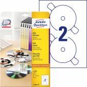 Etykiety na płyty DVD Avery Zweckform; A4, 20 ark./op., ø117 mm, białe
