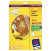 Etykiety samoprzylepne ZF Avery DVD śr117 białe matowe z folii (25ark.) L7776-25