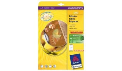 Etykiety samop. ZF Avery DVD śr117 białe matowe z folii (25ark.) L7776-25