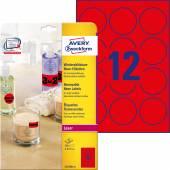 Usuwalne etykiety neonowe Avery Zweckform; A4, 25 ark./op., Ø63,5 mm, czerwone neonowe
