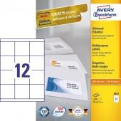 Trwałe etykiety uniwersalne Avery Zweckform; A4, 100 ark./op., 70 x 67,7 mm, białe