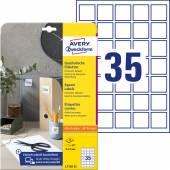 Etykiety do kodów QR Avery Zweckform; A4, 25 ark./op., 35 x 35 mm,białe