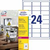Etykiety Heavy Duty Avery Zweckform; A4, 100 ark./op., 63,5 x 33,9 mm, białe, poliestrowe