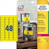 Etykiety Heavy Duty Avery Zweckform; A4, 20 ark./op., 45,7 x 21,2 mm, żółte, poliestrowe