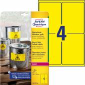 Etykiety Heavy Duty Avery Zweckform; A4, 20 ark./op., 99,1 x 139 mm, żółte, poliestrowe