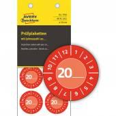 Tabliczki inspekcyjne 20_(rok do uzupełnienia ręcznego) winylowe  Ø30 czerwone, 80 sztuk, Avery Zweckform