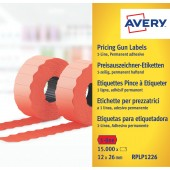 Etykiety cenowe w rolce ZF Avery 26x12 czerwone,trwałe (15000) RPLP1226