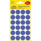 Usuwalne, kolorowe kółka do zaznaczania Avery Zweckform; 96 etyk./op., Ø18 mm, niebieskie