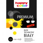 Blok techniczny HAPPY COLOR PREMIUM A4 / 10k, 250g, biały