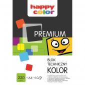 Blok techniczny HAPPY COLOR PREMIUM A4 / 10k, 220g, kolorowy