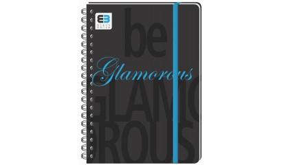 Kołozeszyt INTERDRUK Black&Blue BE.GLAMO A6/100k kratka z gumką okładka PP
