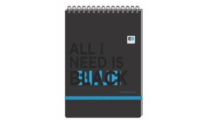 Kołozeszyt INTERDRUK Black&Blue BE.STYLISH A5/100k kratka spirala po krótkim boku, z gumką
