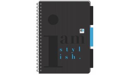 Kołozeszyt INTERDRUK Black&Blue BE.STYLISH B5/160k kratka z przekładkimi PP