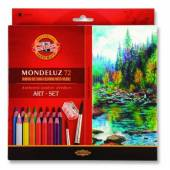 Kredki akwarelowe KOH-I-NOOR Mondeluz 72 kolorów +pędzel 3714