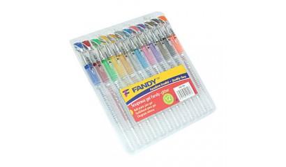 Długopis żelowy KOH-I-NOOR Fandy kpl. 12kol. brokat
