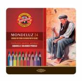 Kredki akwarelowe KOH-I-NOOR Mondeluz 24 kolory  opakowanie metalowe 3724