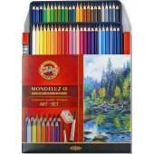 Kredki akwarelowe KOH-I-NOOR Mondeluz 48 kolorów +pędzel 3713