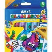 Farby witrażowe AMOS 5 kolorów x10,5ml + 1 kontur GD10P6