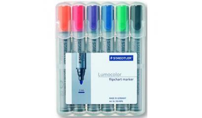 Marker suchościeralny STAEDTLER Lumocolor okrągły kpl. 6 kol. 351WP6