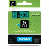 Taśma DYMO 12mm / 7m czarno / zielona 45019