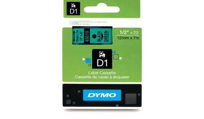 Taśma DYMO 12mm/7m czarno/zielona 45019