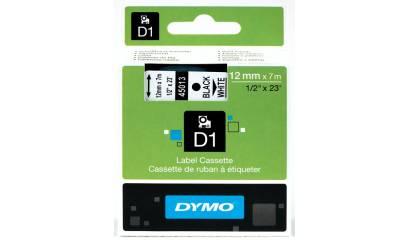 Taśma DYMO 12mm/7m czarno/biała 45013