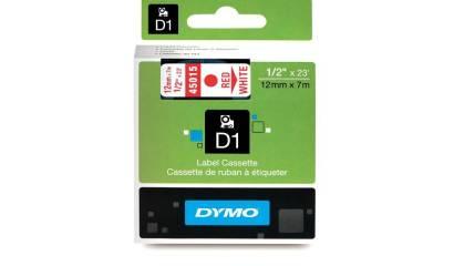 Taśma DYMO 12mm/7m czerwono/biała 45015
