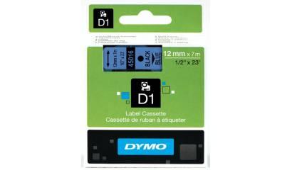 Taśma DYMO 12mm/7m czarno/niebieska 45016