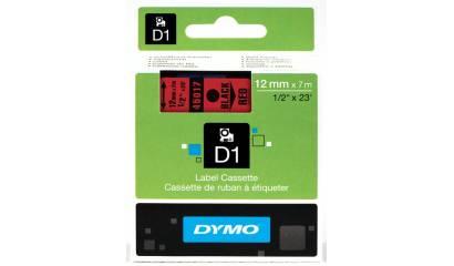 Taśma DYMO 12mm/7m czarno/czerwona 45017
